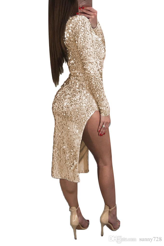 Irregular Style Sequin Sheath Party Dresses Red Gold Silver In Stock Deep v Neck Long Sleeves Zipper Back Sexy Women Evening Dress 2018
