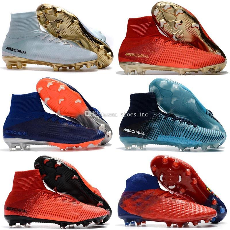 competitive price 473db dc263 High Top Mens Soccer Shoes Mercurial CR7 Superfly 5 FG Boys Football Boots  Magista Obra 2 Women Youth Soccer Cleats Cristiano Ronaldo