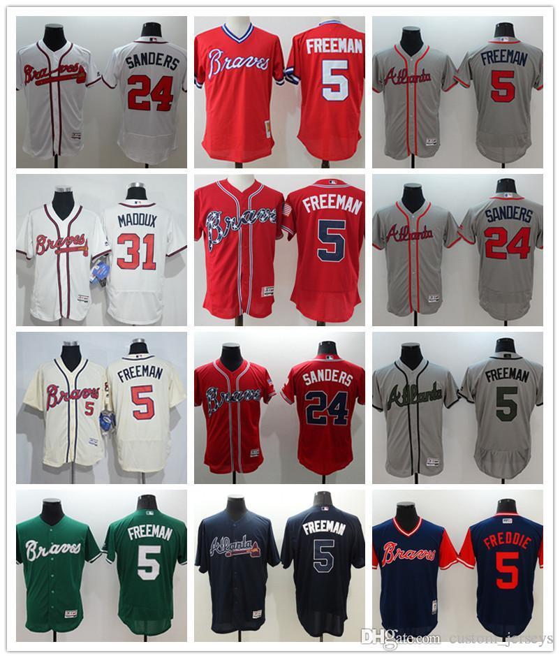 best service 778b8 280eb custom Men s women youth Atlanta Braves Jersey #5 Freddie Freeman 24 Deion  Sanders 31 Maddux Home Blue Red Baseball Jerseys
