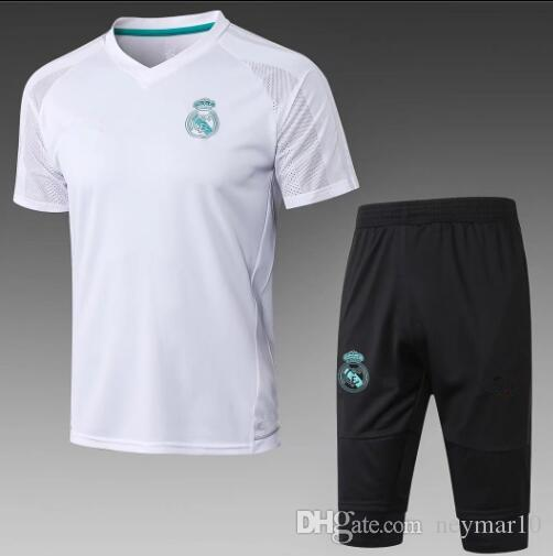 90b34bdf42960 2018 Real Madrid Traje De Manga Corta 3 4 Pantalones Kit RONALDO 17 18  Chandal Uniformes Maillot De Foot Survetement Camisetas De Fútbol Por  Neymar10