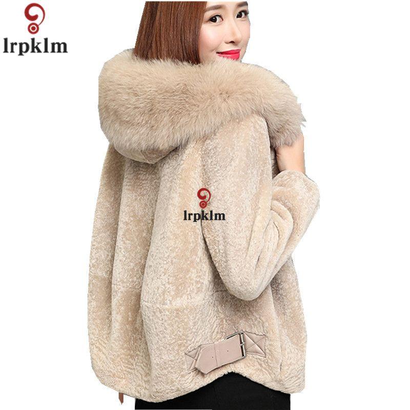 62310b6f580 2019 Women S Sheepskin Coats Fox Fur Collar For Ladies Short Winter Coat  Hooded Plus Size 3XL Warm Parkas Female 2018 New LZ943 From Qingxin13
