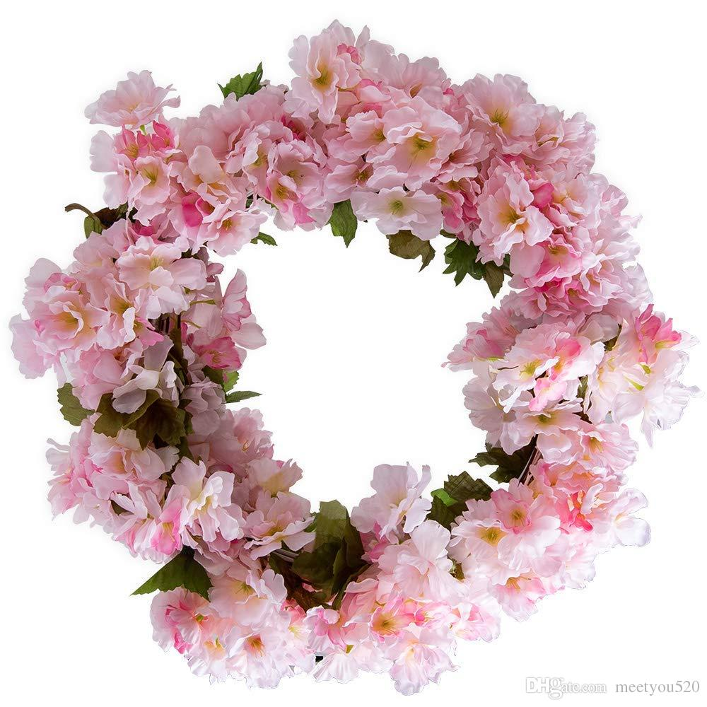 2018 Artificial Cherry Blossom Garland Hanging Vines Faux Sakura ...