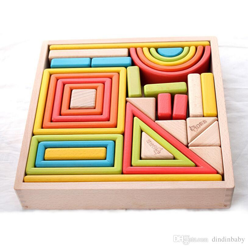 Wooden Building Blocks Toys Rainbow Color With Window And Arch