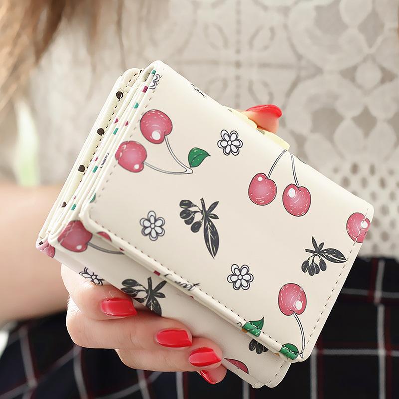 Женщины Кошелек Корейский Мода Симпатичные Кожаный Бумажник Черри Печатных Небольшой Женский Кошелек Carteira Feminina Cion Карманный Держатель Карты