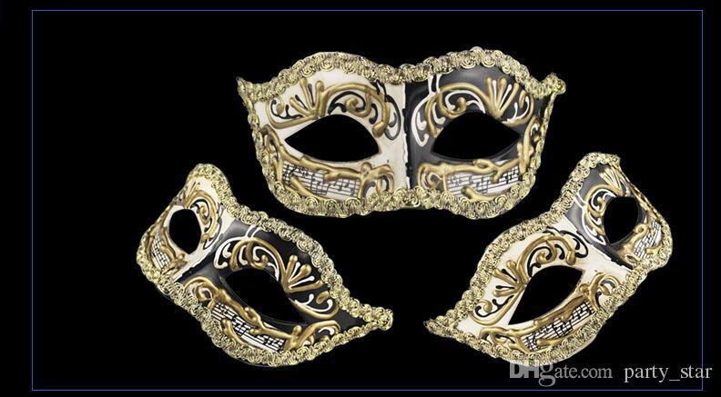 Men Women Handmade Notes Masquerade Face Masks Halloween Party Carnival Face Masks Birthday Graduation Party Two Colors Masks