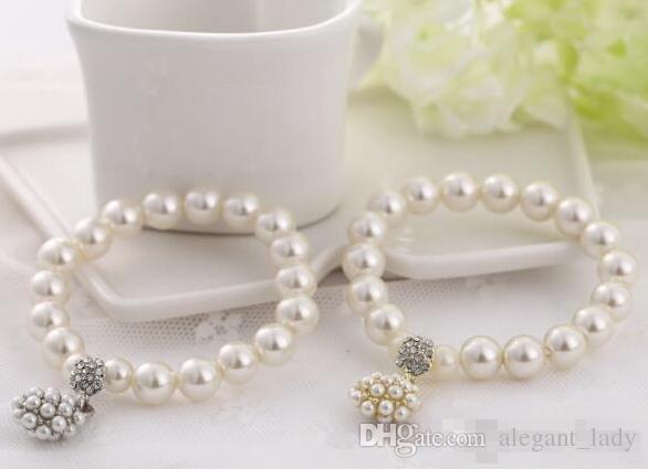 Diseñador de moda de lujo perla pulsera con cuentas joyería nupcial del encanto para las mujeres señora chica hermosa pulsera elástica encantadora boda jewellry