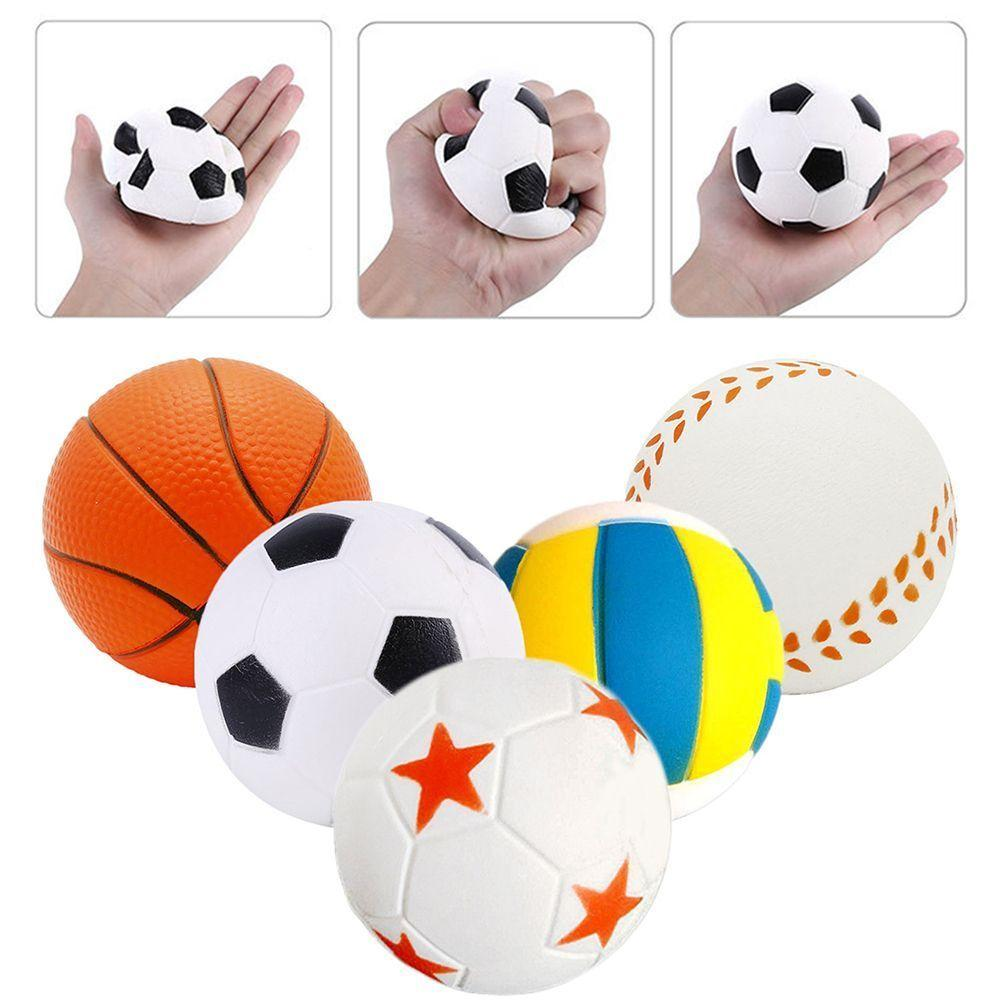 Sport pu ball Squishy Toy Basketball baseball Soccer Volleyball squeeze Jumbo Slow Rising Toys Kids Gifts 5styles Decompression Toy FFA339