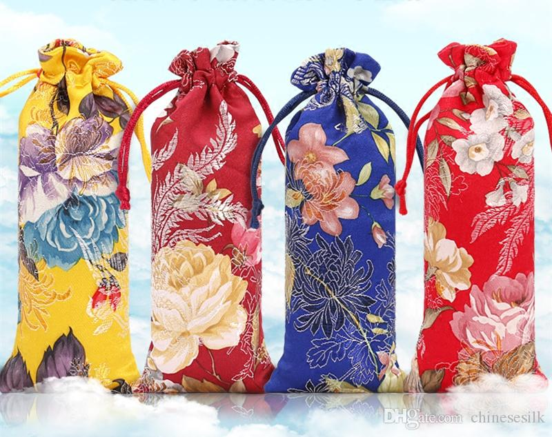 New Lengthen Chinese Fabric Gift Bag Floral Combs Jewelry Silk Brocade Pouch Small Drawstring Bags for Packaging 7x18 cm