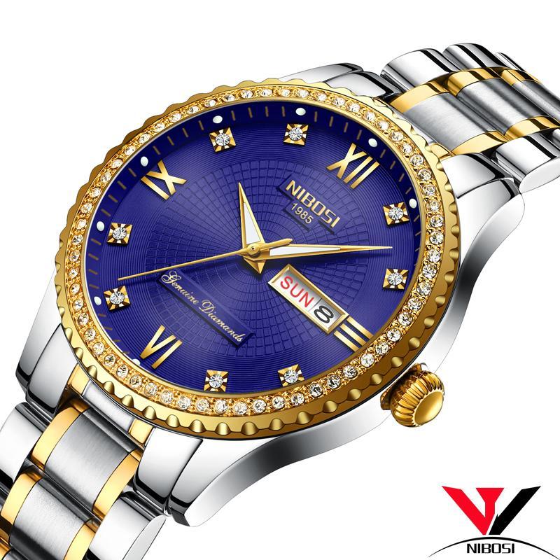 8820376a26cd Compre NIBOSI Reloj De Cuarzo Analógico Hombres Marca De Lujo Reloj De  Cristal A Prueba De Agua Reloj De Moda Fecha Y Día Relojes Para Hombre A   31.26 Del ...