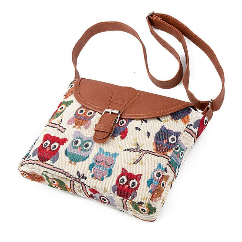 1e1399d597 Women Messenger Bags Summer Flap Bag Lady Canvas Cartoon Owl Printed  Crossbody Shoulder Bags Small Female Handbags Luxury Bags Handbags  Wholesale From Faaa