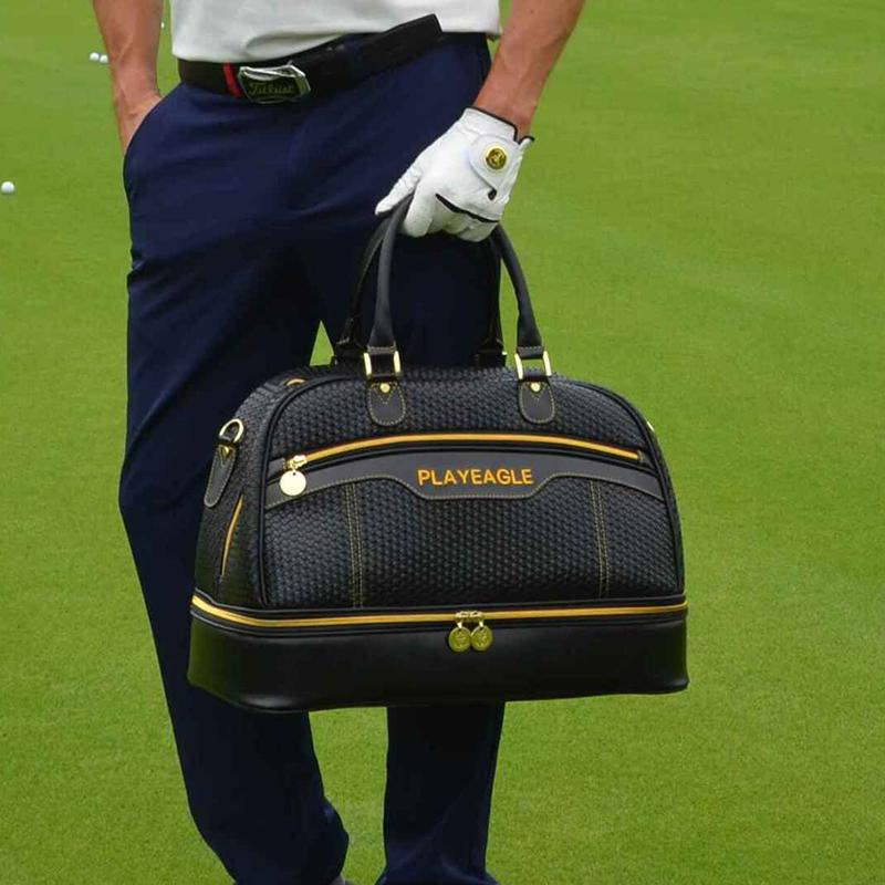 6437984f14 2018 Large Capacity PU Leather Golf Boston Bag Black Color Golf ...