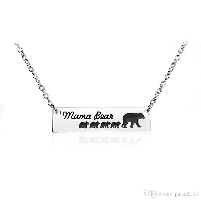 Vendite calde New Mama Bear Baby Bear Collana Catene d'argento Bar Catene Madre e figlia Amore Moda collana di gioielli