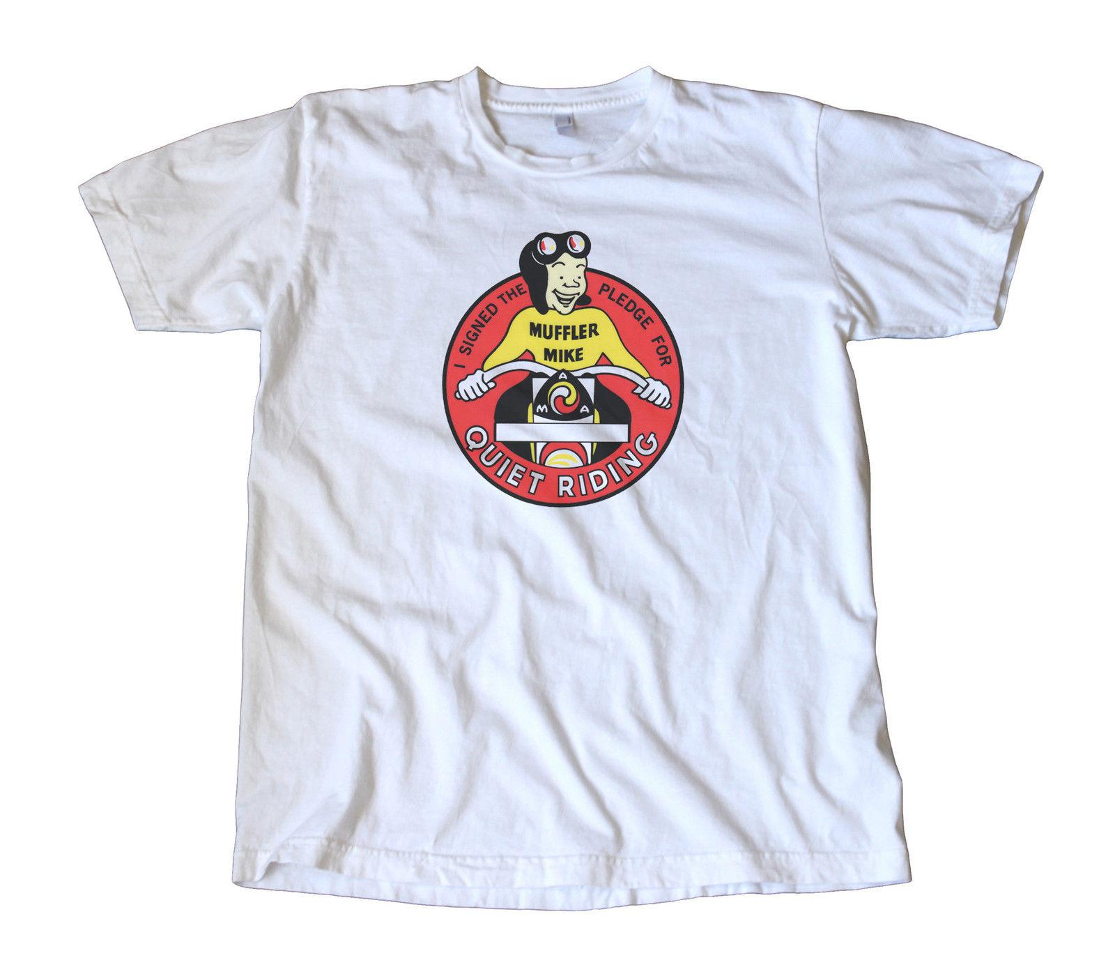 Grosshandel Vintage Muffler Mike Ruhig Reiten Aufkleber T Shirt