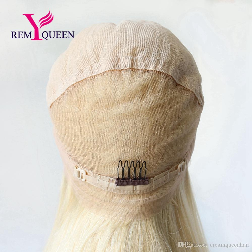 Remy Queen Brazilian Luxury Blonde 613 Silky Straight Full Lace Wig 130% Density 10A Remy Hair Breathable Lace with Natural Hairline
