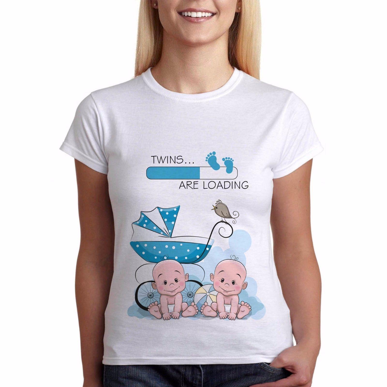 5239ad367 Compre Camiseta Para Mujer Baby Shower Mujer Embarazo Divertido Camiseta De  Maternidad Gemelos Niños Regalo Perfecto Camiseta Camiseta Coreana Harajuku  O ...
