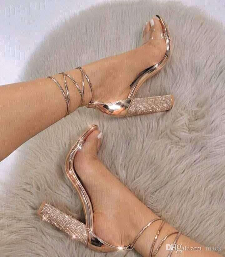 20aac0f80d0 Europe Brand Women Cross Lace Up Sandals Sexy Crystal Thick Heel High Heels  Fashion Wedding Shoes Bride PVC Transparent Gladiator Sandals Bamboo Shoes  High ...