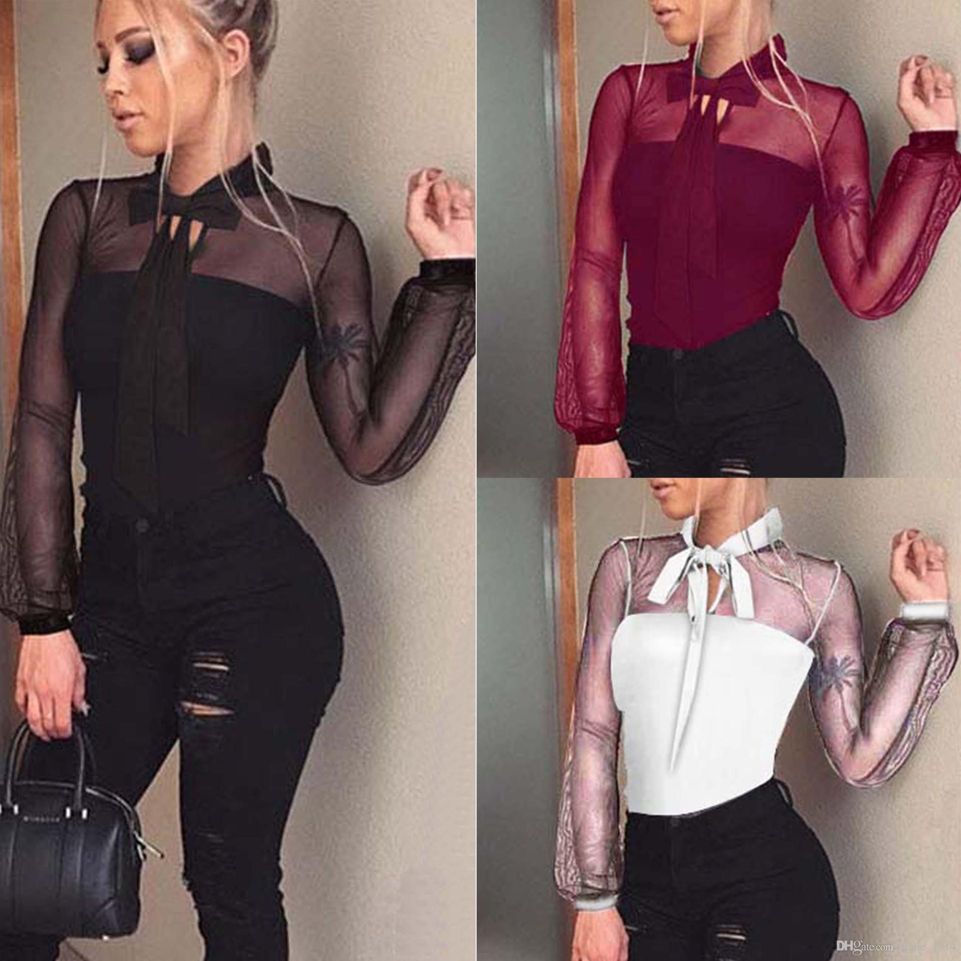 Bow Tie Mesh Shirts Women Lace Blouses Ladies Tops Black Wine Red Shirts Female Elegant Office Top Sexy Club Party Shirt Blusas