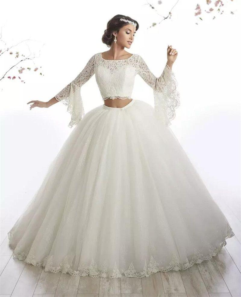 Elegante Ballkleid-afrikanische Hochzeits-Kleider 2018 mit schierem  Hals-lange Hülsen-Spitze-Brautkleid-Mode-zwei Stück-Mädchen Vestidos De  Novia
