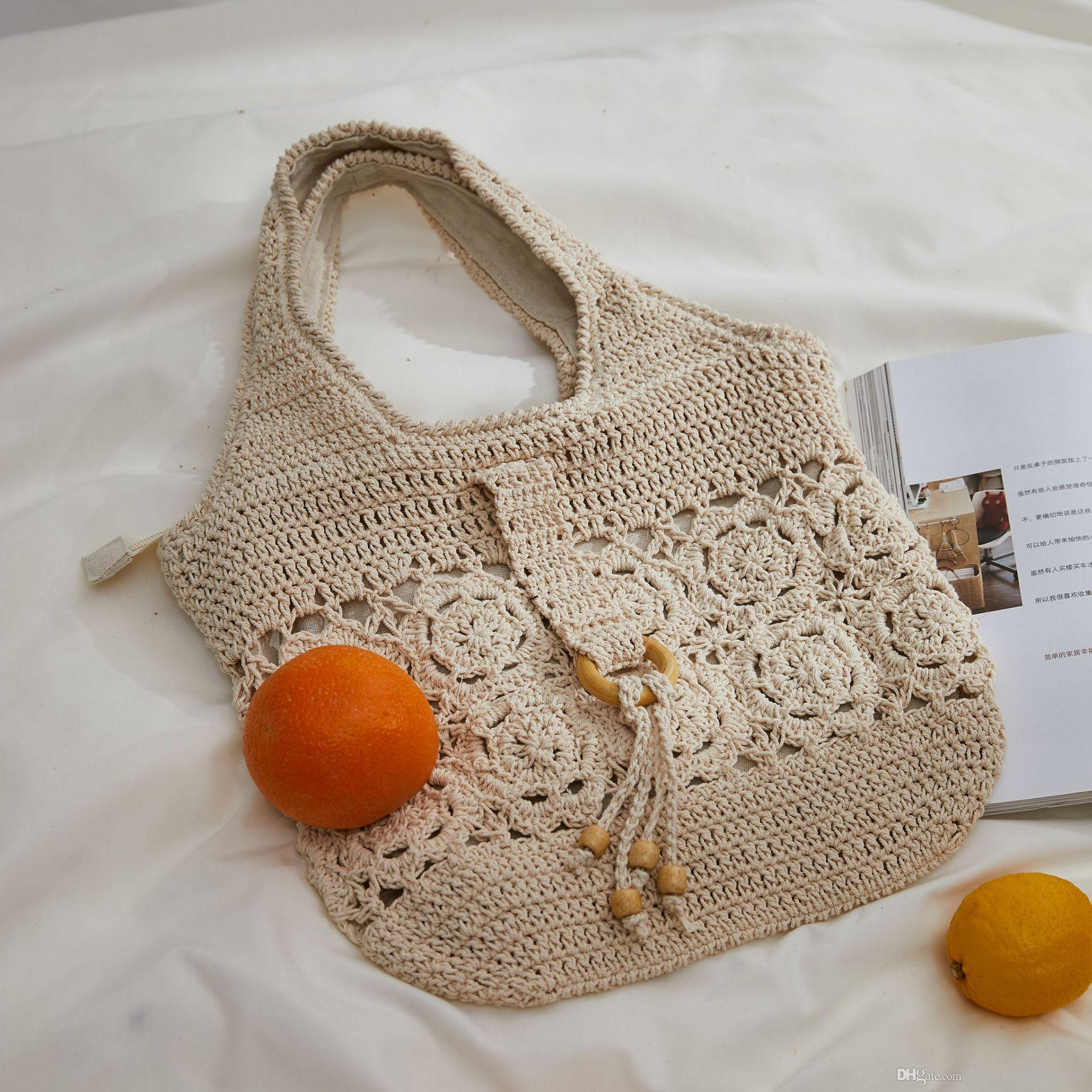 1e49727e3a26 Women fashion beach bags Boho Chic Handmade hollow crochet Cotton woven  Retro casual Straw Handbag Summer Bohemian holiday Shoulder Bag Tote