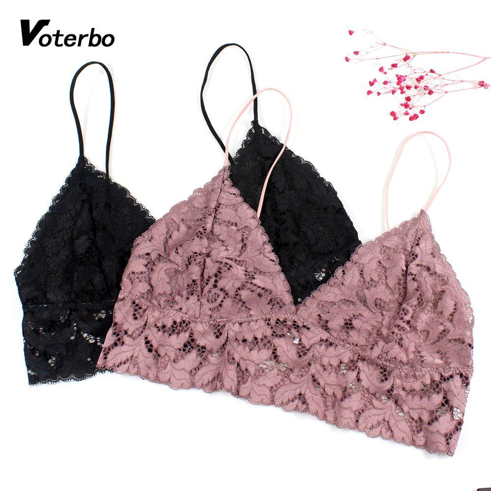 8645153e410 2019 Hot Sale Women Sexy Bra Lingerie Floral V Neck Lace Bralette Female  Crop Tops Sleeping Brassiere Strappy Wirefree Soft Bra Vest From  Ferdinand07