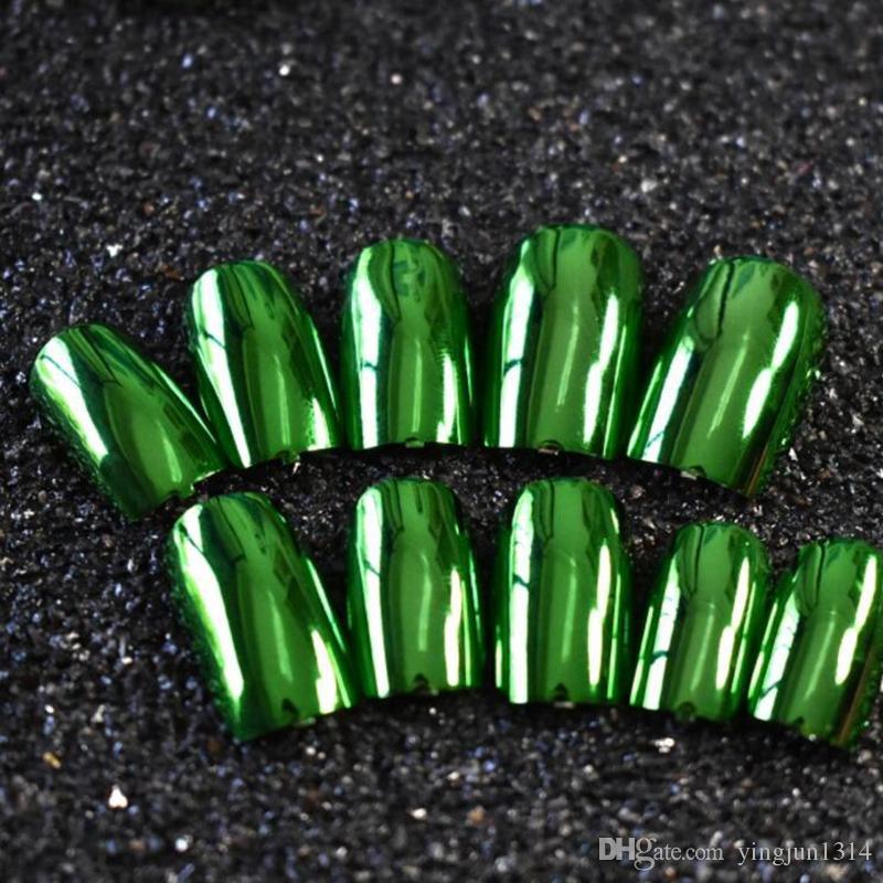 Nails falsos Nail Fashion Metallic Dicas Acrílico espelho de superfície Longa Tamanho Cor prata em simples Pacote /