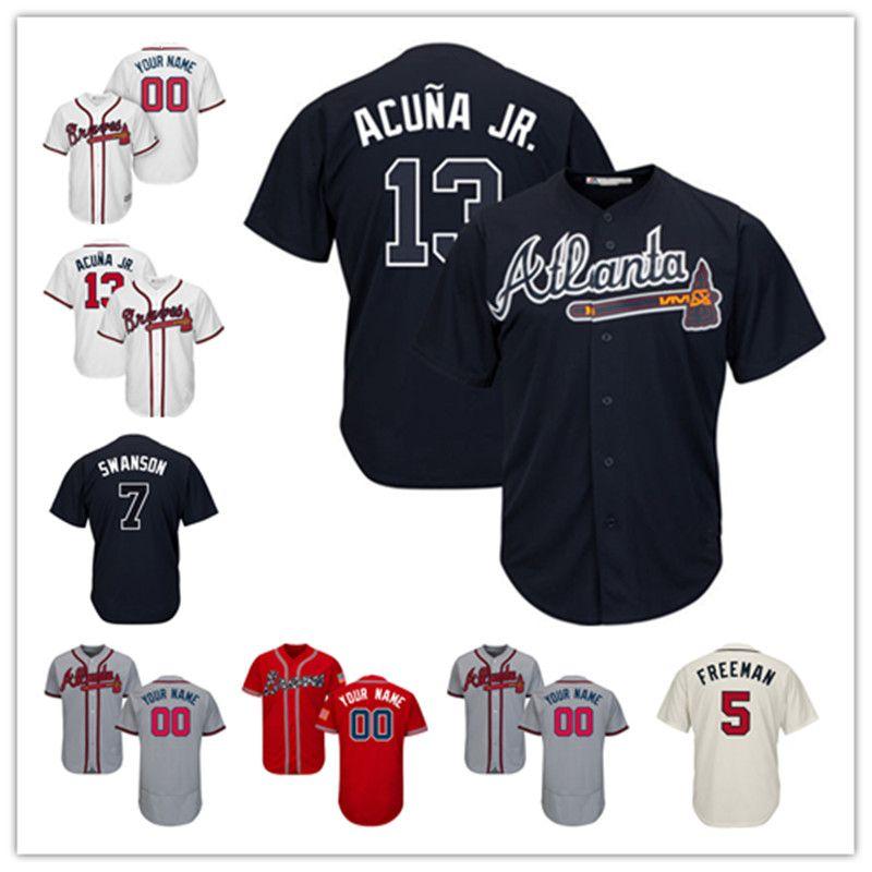 2018 Custom Atlanta 13 Ronald Acuna Jr. 1 Ozzie Albies 5 Freddie Freeman 7  Dansby Swanson 10 Chipper Jones 100% Stitched From Stitched jerseys b4d130564