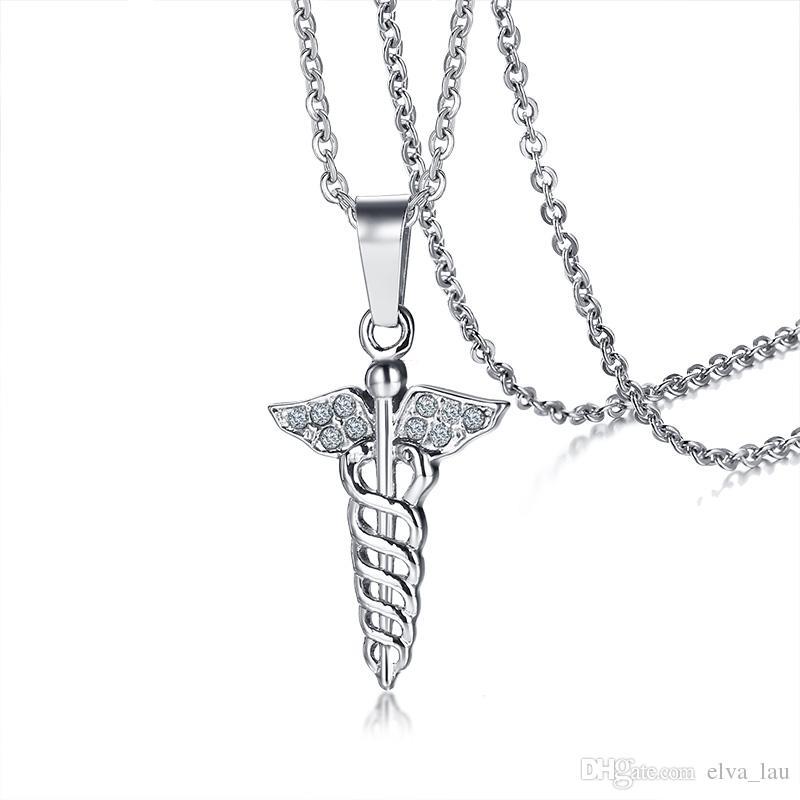 Wholesale Aaa Cz Stones Caduceus Pendant For Women Necklace