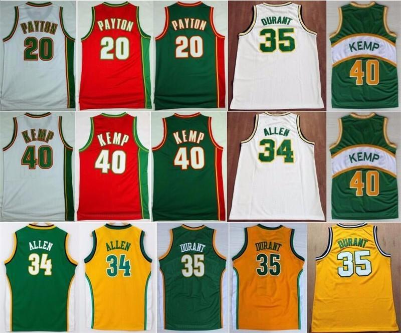 39a307093 College 20 Gary Payton Jersey Men 35 Kevin Durant 40 Shawn Kemp 34 Ray  Allen Basketball Jerseys Sport Uniform Green Yellow White Red Gary Payton  Jersey ...