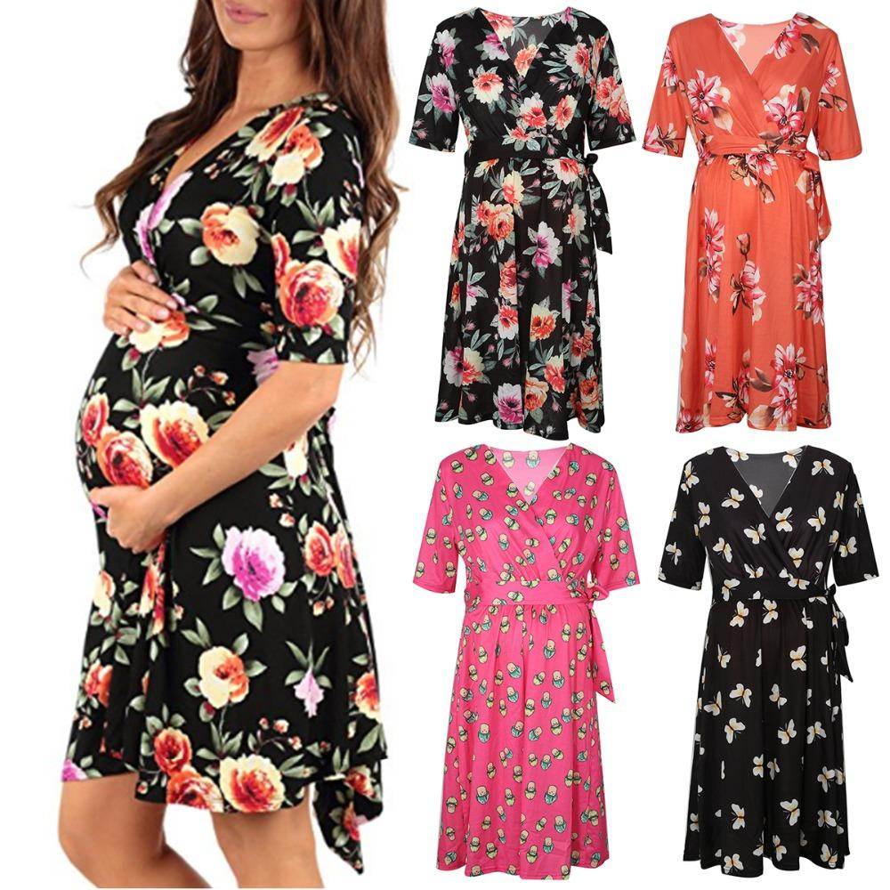 2c4f6234f24 2019 Puseky Maternity Dress For Photo Shooting V Neck Floral Dress  Maternity Photography Props Stretch Pregnant For Photography From  Ouronlinelife