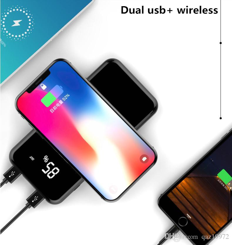 Slim large capacity support for iphoneX wireless charging and other mobile phone fast charging Cell Phone Power Banks