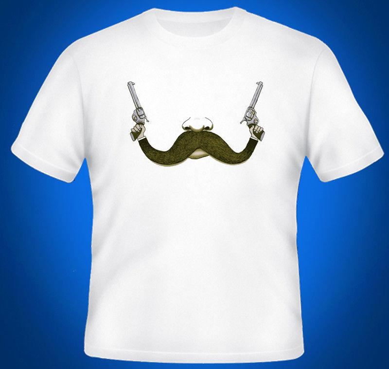 Mustache With Guns Mens T-Shirt Top Lustiges freies Verschiffen Unisex-T-Stück