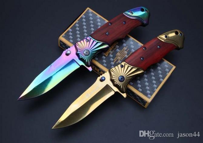 Оптовая Браун сталь + деревянная ручка складной нож Кемпинг Нож выживания Охота Застежка EDC Инструменты Открытый складной нож подарок