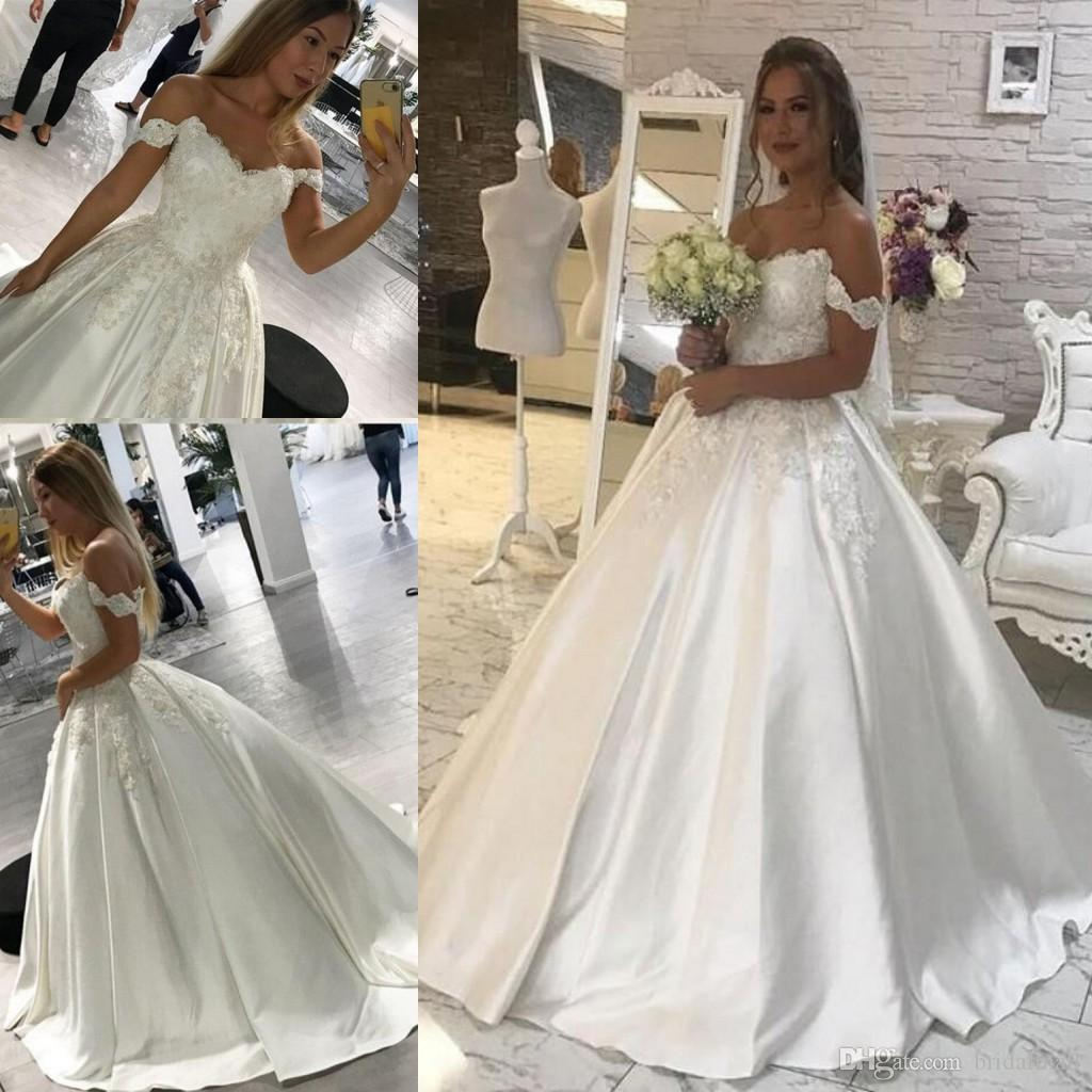 aeac33502a0 Discount White Ivory Appliques Satin A Line Boho Wedding Dresses 2019 Off  Shoulder Bridal Dresses Plus Size Zipper Up Back Weding Gowns For Brides  Dresses ...