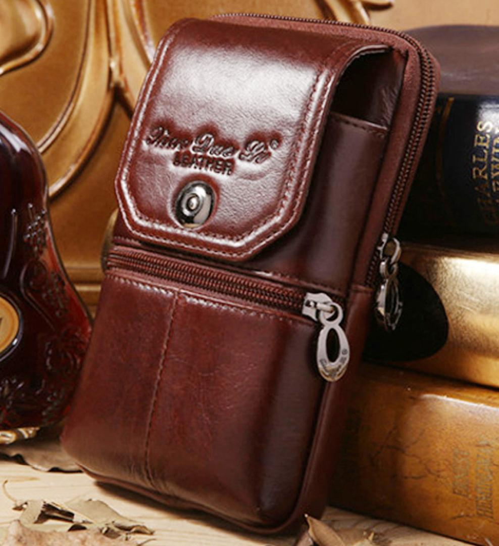 ef621abb82 Men Genuine Leather Cowhide Cell Mobile Phone Case Cover Skin Vintage Belt  Hip Fanny Bag Waist Pack Purse Father Christmas Gift Hiking Backpack Duffel  Bags ...