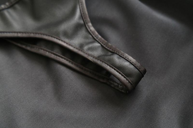 المرأة مثير تأثيري تنورة قصيرة جلدية سوداء فستان مثير مكشوف الورك خادمة الملابس مثير منتجات جنسية للأزواج