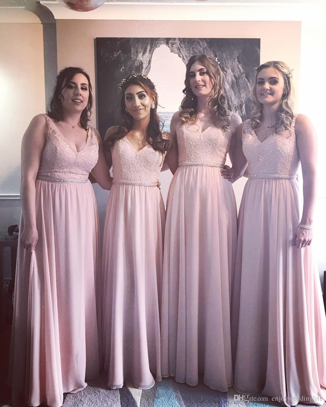 Light Pink V Neck Lace Bridesmaid Dresses 2018 New Elegant A Line Chiffon  Long Maid Of Honor Gowns With Beaded Sequins Party Wear Designer Bridesmaid  Dress ... fc762616999d