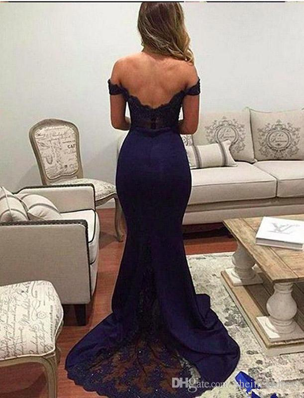 2018 Navy Blue Blush Off-the-Shoulder Mermaid Bridesmaid Dress Lace Applique Train Party Prom Evening Gown Dresses Custom Made