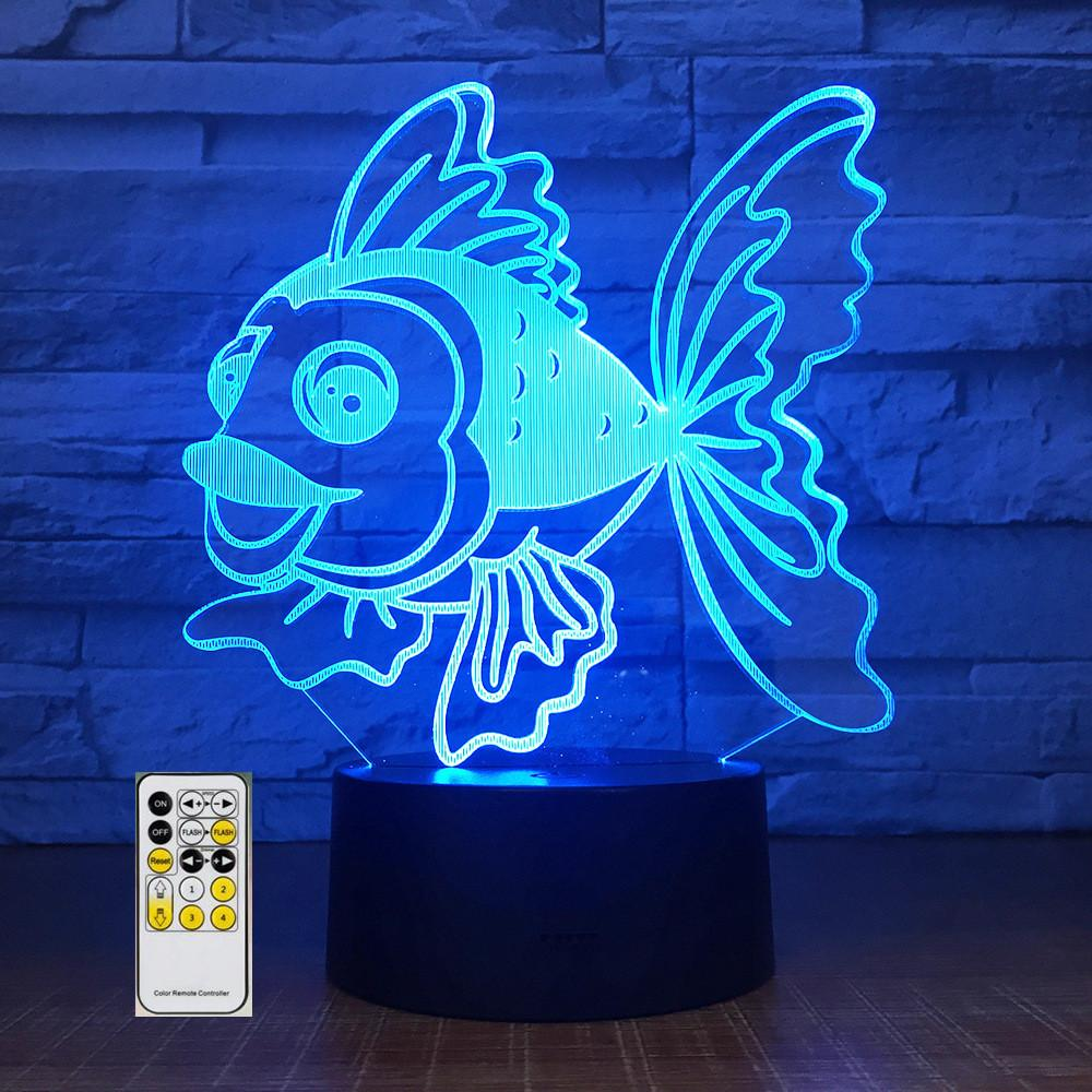 2019 changing led kids bedside remote lighting fixtures 3d visual animal fish usb desk lamp home decor night light from youerlamp 24 03 dhgate com