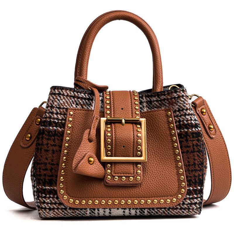 890690b07944 Woolen Rivet Women Messenger Bags Vintage Tote Shoulder Leather Handbags For  Famous Luxury Brand Design Bolsa Feminina Sac 2018 Shoulder Bags Cheap  Shoulder ...