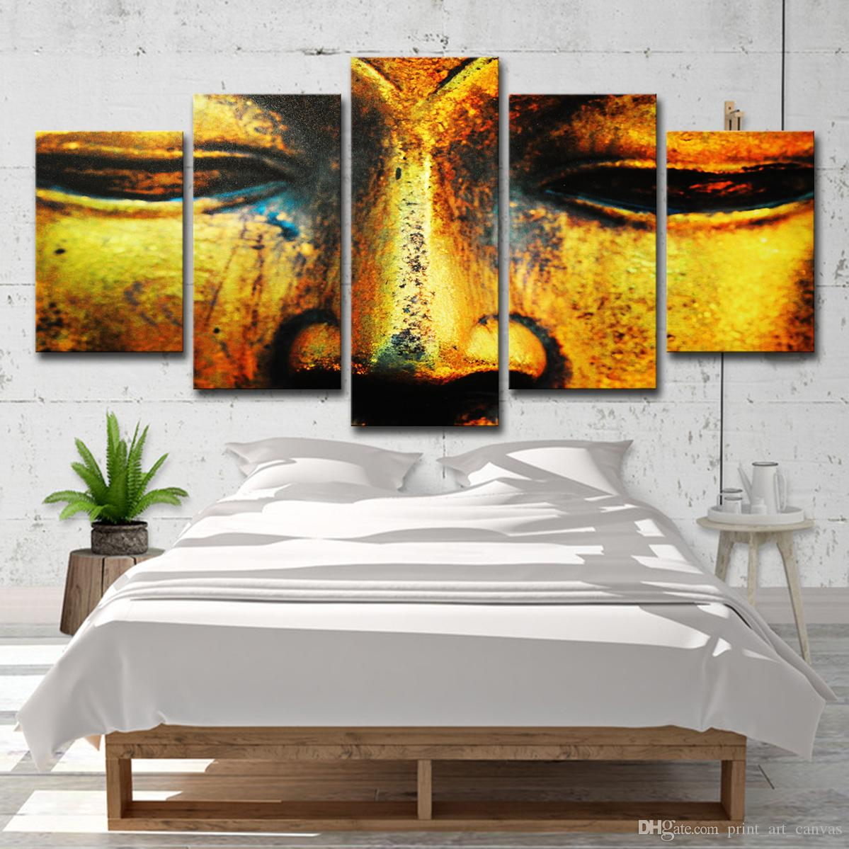 Canvas Wall Art Pictures Home Decoration Poster 5 Pieces Golden Buddha Face HD Printed Painting Modern For Living Room