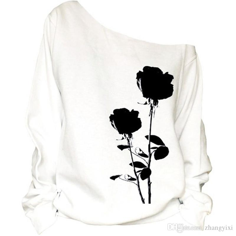 Wholesale Hot Women Stretch Black Rose 3D Digital Print Cotton Hoodies Off Shoulder Long Sleeve Loose Tops White Sweatshirts