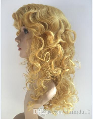 High quality Long Wavy Wig Blonde Color Middle Part Heat Resistant Synthetic African American Wigs For White Women