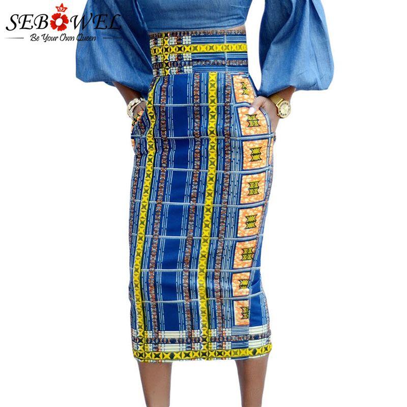 11d31a01d125a SEBOWEL Sexy Stylish African Print High Waist Bodycon Pencil Midi Skirt  Women Plus size Vintage Geometric Print Midi Skirts XXL