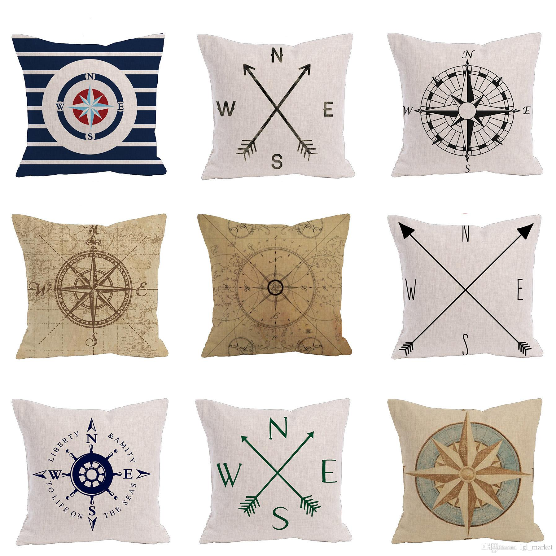 Marine Style Cushion Cover Sailing Series Anchor Decorative Pillow