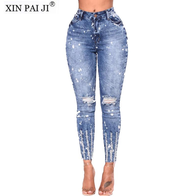 New 2018 Spring Summer Stretchy Blue Hole Ripped Jeans Woman Denim ... 52d9c8f189ee