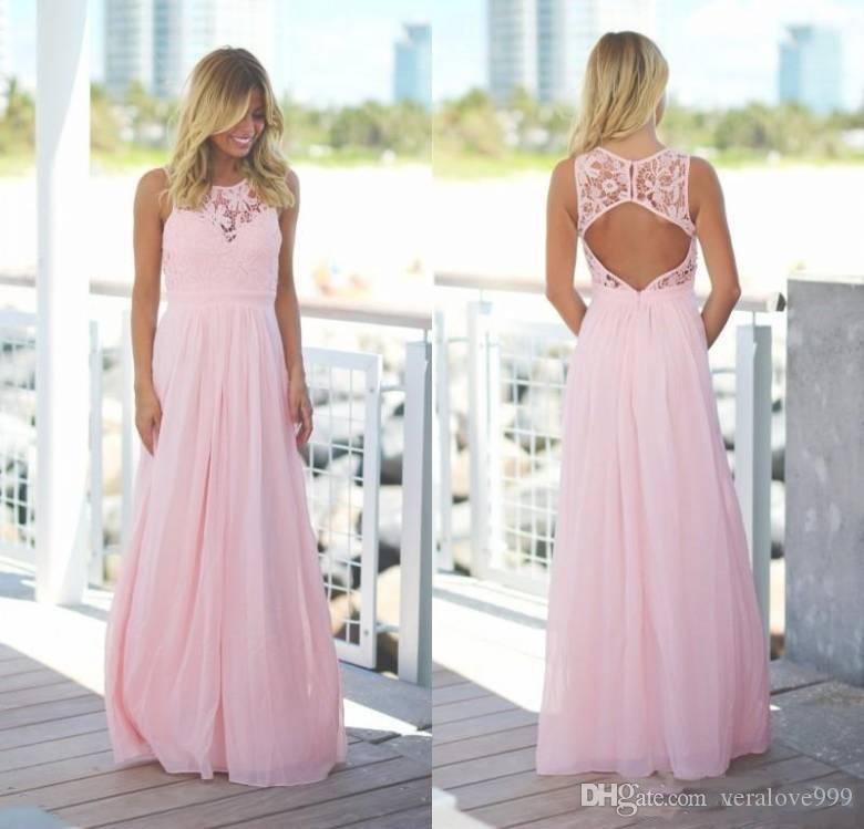 Pink Country Style Bridesmaid Dresses 2018 Lace Chiffon Jewel Neck Open Back A-line Wedding Guest Dresses Long Reception Evening Gowns