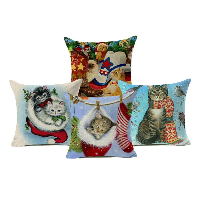 Cute Christmas Stocking Kitten Cats Throw Pillow Covers Comfortable Modern Living Room Dining Chair Decorative Pillow Case