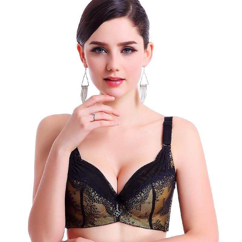 c0b66eea55f 2017 Plus Size Bras For Women Luxurious Lace Embroidery Push Up Bra ...