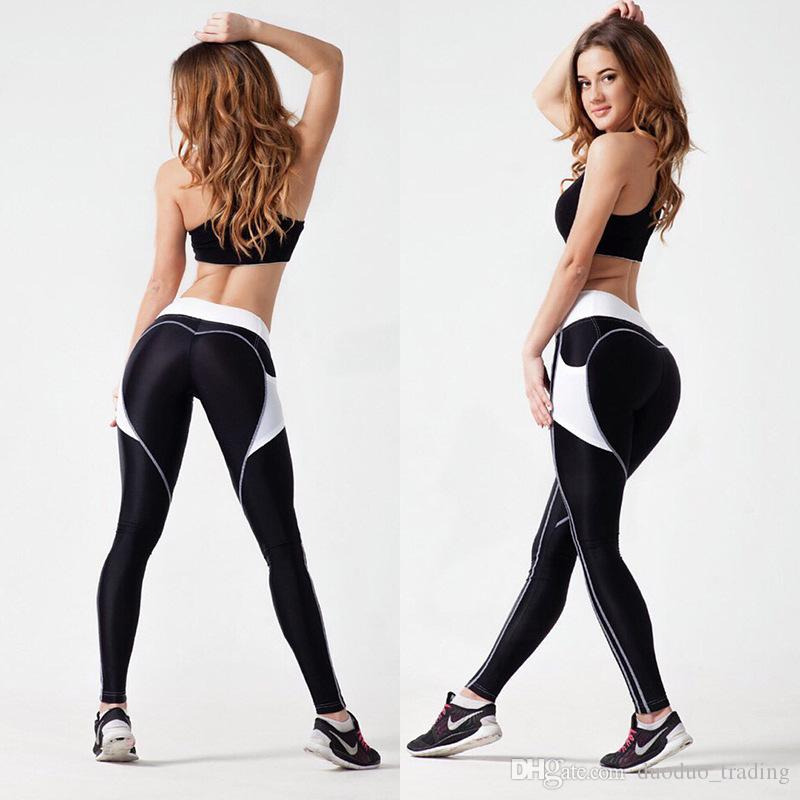 c1ba61638952fe 2019 Heart Booty Pattern Sexy Women Yoga Pants Fitness Gym Tights With Side  Mesh Pocket Contrast Color Yoga Legging Running Trousers Hot Products From  ...