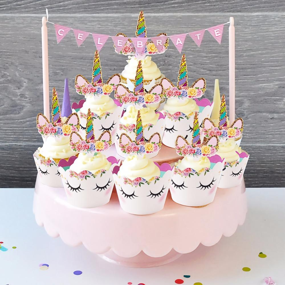 FENGRISE Unicorn Cupcake Toppers Wrappers Kids Favors Unicorn Party Decoration Rainbow Birthday Baby Shower Cake Topper